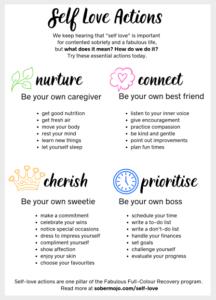 Sober Mojo Full Colour Recovery program pillar: self-love actions